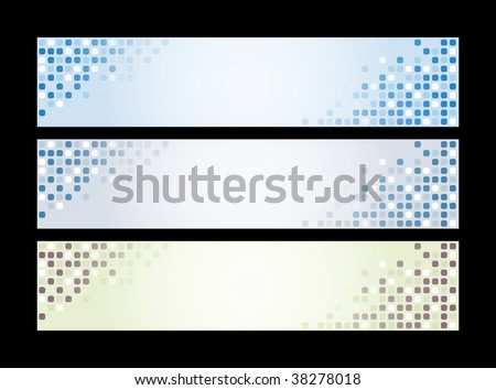 Three banners - blue, grey, green.  Vector illustration.
