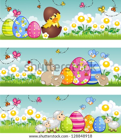 Three banners easter  with  bunny duckling lambs-Tiered-without the effects of transparency-EPS 8 - stock vector