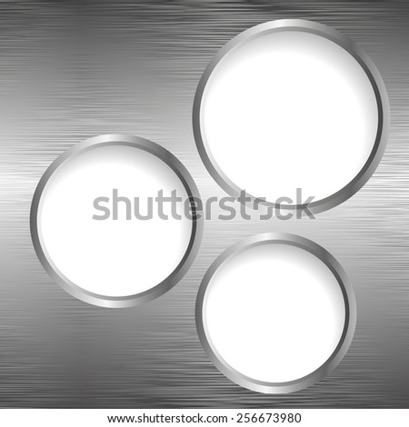 three banners on metallic background - stock vector