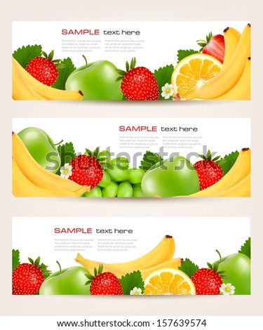 Three banners with delicious ripe fruit. Vector.  - stock vector