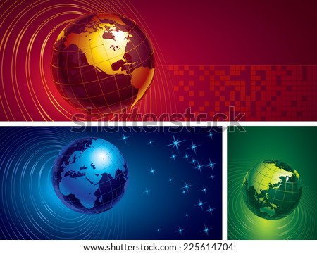 Three banners with metal globes on abstract backgrounds. Eps8. CMYK. Organized by layers. Global colors. Gradients used.