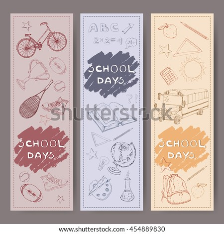 Three banners with school related hand drawn sketches. Features school bus, backpack, apple, sports equipment, stationery and more. Vector Illustration. - stock vector