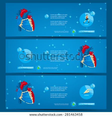 Three banners with steps to healthy heart. Set of banners with infographics about healthy heart. Healthy lifestyle. Structure of human heart. - stock vector