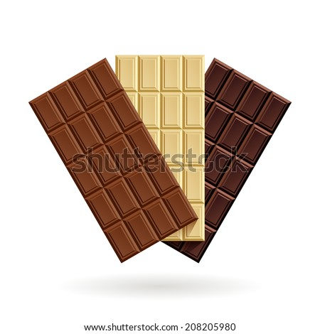 Three bars of chocolate: milk, white and dark on a white background - stock vector