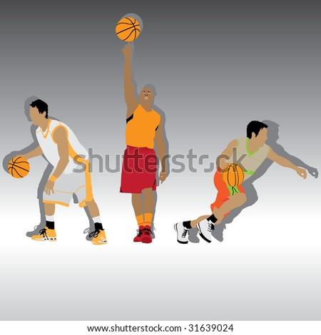 three basketball players, vector illustration - stock vector