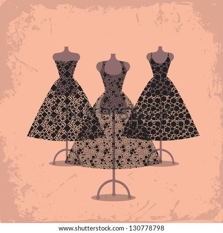 Three beautiful black lace dresses - stock vector