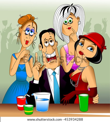 three beautiful girl flirting with a guy in a bar - stock vector