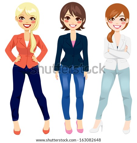 Three beautiful women dressed in smart casual fashion clothing in different poses - stock vector