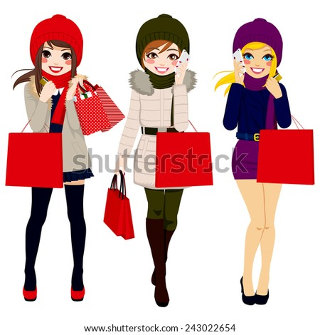 Three beautiful young women in winter clothes happy walking carrying shopping bags - stock vector