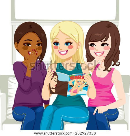 Three beautiful young women reading fashion and gossip magazine chatting and having fun - stock vector