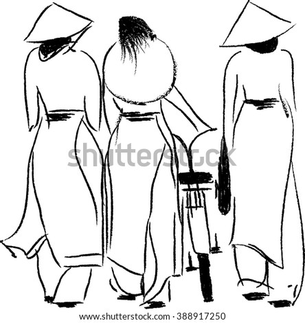Three beautiful young women stroll in Ho Chi Minh City, Vietnam. They are dressed in traditional Ao Dai dresses, trousers and conical hats.