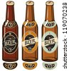 three beer bottles with labels - stock vector