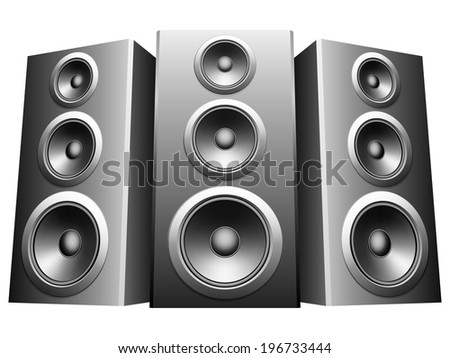 Three big speakers in a row. - stock vector