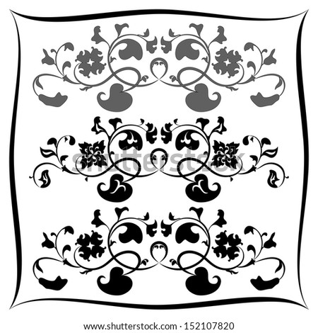 Three Black and white floral pattern. Set - stock vector