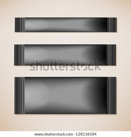Three black blank foil packaging coffee, chocolate stick plastic pack ready for Your design - stock vector