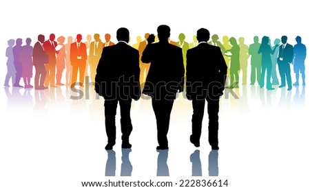 Three black businessmen going towards a crowd of colorful people