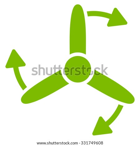Three Bladed Screw Rotation vector icon. Style is flat symbol, eco green color, rounded angles, white background.