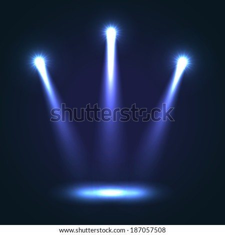 Three blue bright projectors for scene lighting decoration on black background. Vector special light effects - stock vector
