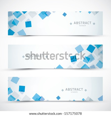 Three blue business abstract banner headers vector eps10 - stock vector