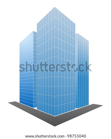 Three blue skyscrapers isolated on a white. Vector illustration.