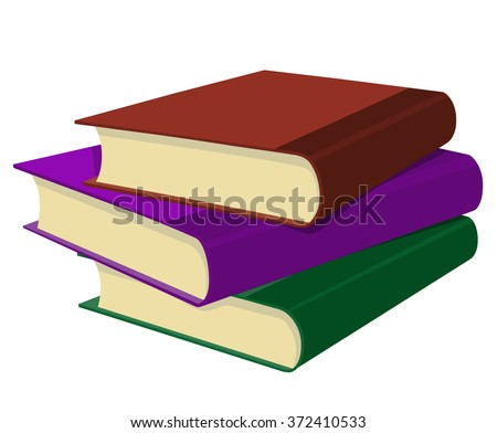 Three books in a stack on white background