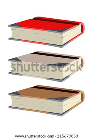 Three books of different colors on a white background
