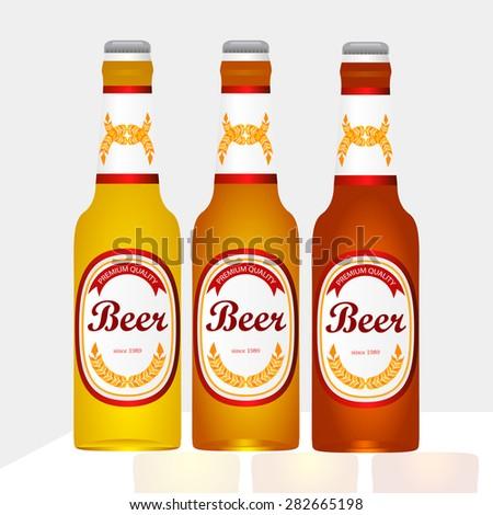 three bottles of light dark very dark - stock vector