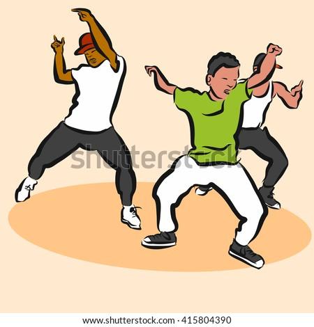 Three Boys, Hip Hop Choreography, Hand Drawn Sketched Artwork - stock vector