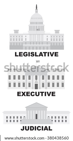 Three Branches of United States Government Legislative Executive Judicial Buildings Grayscale Vector Illustration - stock vector