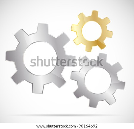 Three bright gears on gray background - stock vector