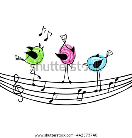 Three brightly colored birds on the stave with treble clef and notes. Vector illustration. - stock vector