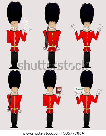 Three British Soldiers with weapon, English dictionary, welcome sign, cup of tea and peace sign  . Honorary royal guard, Beefeaters vector set. - stock vector