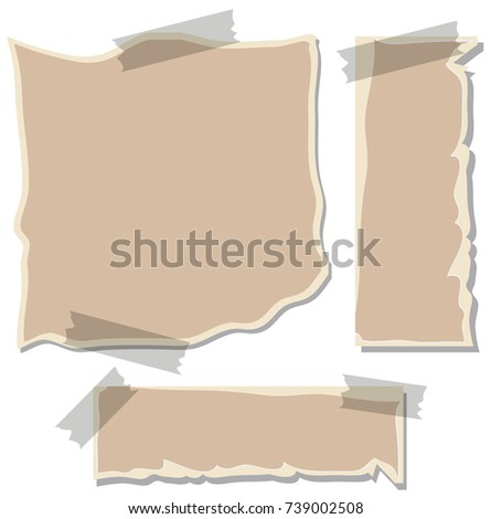 Three brown papers taped on wall illustration