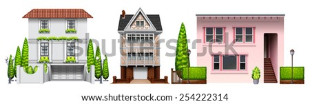 Three building designs on a white background  - stock vector