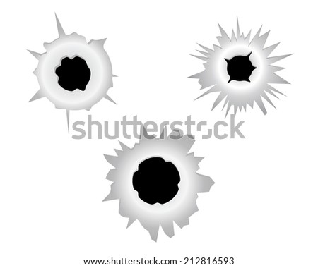 three bullet holes on a white background
