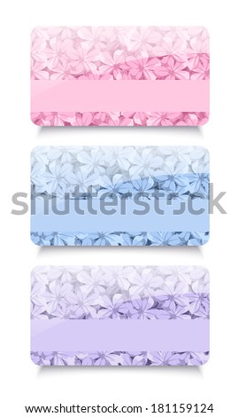 Three business cards with floral patterns. Vector EPS-10.