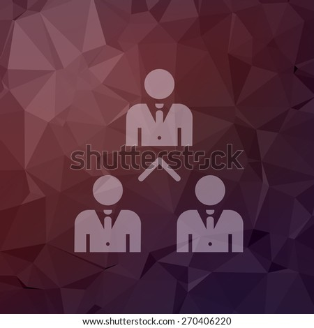 Three business people icon in flat style for web and mobile, modern minimalistic flat design. Vector white icon on abstract polygonal background - stock vector