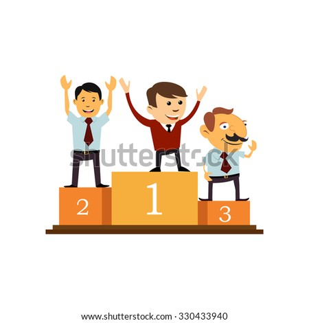 Three businessman on a pedestal. - stock vector