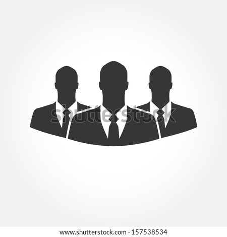 Three businessman silhouettes  - vector icon - stock vector
