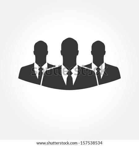Three businessman silhouettes  - vector icon - stock vector