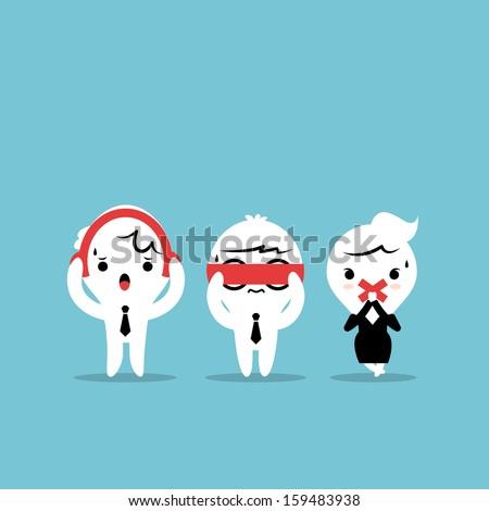 Three businessmen cartoon - Three wise monkeys. See no evil, hear no evil, speak no evil - stock vector