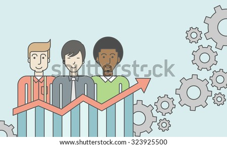 Three businessmen standing over growing chart. Perspective business concept. Vector line design illustration. Horizontal layout with a text space. - stock vector