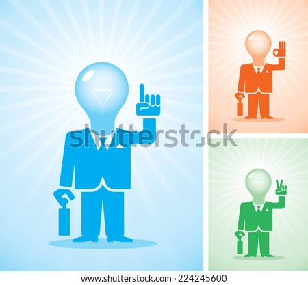 Three businessmen with a lamp for a head showing different hand gestures. Eps8 CMYK Organized by layers Global colors. Gradients used - stock vector