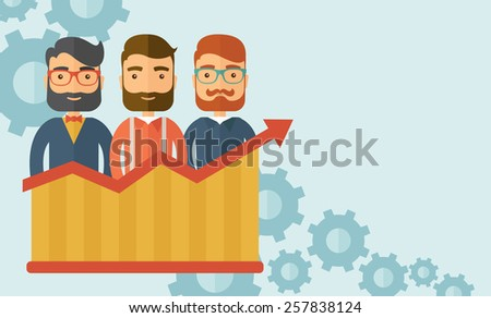 Three businessmen with beards over growing chart. Perspective business concept. Vector flat design Illustration. Horizontal layout with a text space in a top right corner. - stock vector