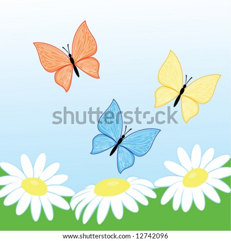 three butterfly fly on camomile flowers - stock vector