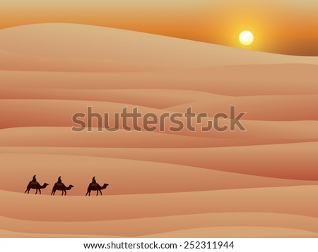 three camel in desert with sunset, vector illustration - stock vector