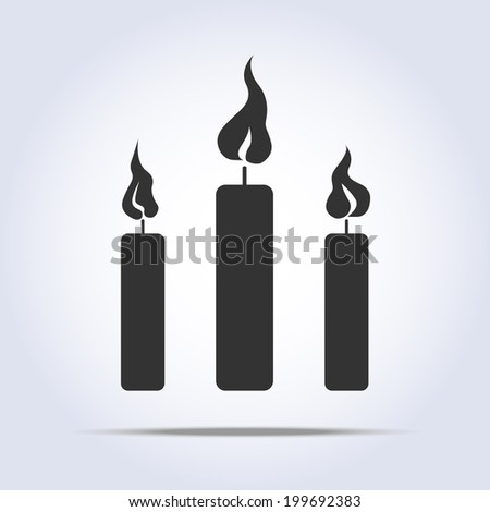three candles icon in vector with flame