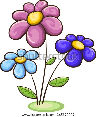 Three Cartoon Flowers Blue Pink Purple Stock Vector Royalty Free
