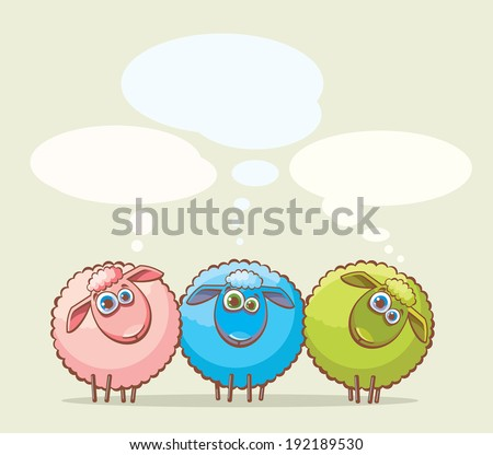 Three cartoon funny sheep with big blue eyes. - stock vector