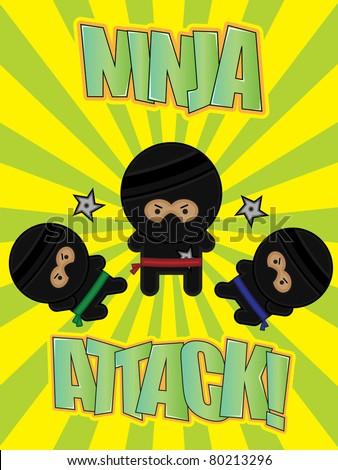 """Three cartoon ninjas on a bright """"Ninja Attack!"""" poster - stock vector"""